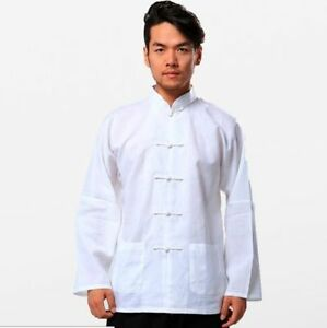 02ea6928f2b1e Traditional Chinese Men s Linen Kung Fu Shirt Tops dress shirt white ...