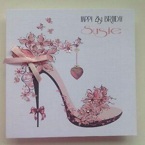 Image Is Loading PERSONALISED Handmade BIRTHDAY Card SHOE Mum Sister Grand