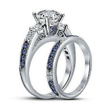1.50CT Diamond & Blue Sapphire 925 Silver Engagement Wedding Bridal Ring Set