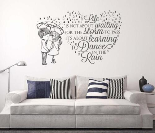 Couple Dancing In The Rain Wall Chick Decal Art Sticker Quote