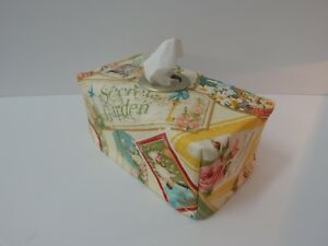 Great Gift! Tissue Box Cover Wedgewood Blue Floral with Circle Opening