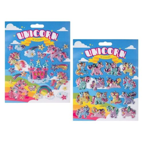 16 X 3D Stickers Unicorn Pony Bright Colourful Shiny Stickers For Girls