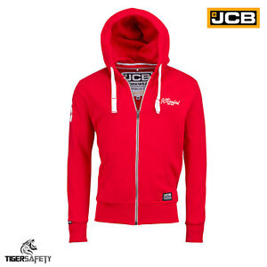 Jcb Bamford Ltd Edition Rouge Haut à Capuche à Capuche Sweat Workwear Travail Top Sweat à Capuche-afficher Le Titre D'origine