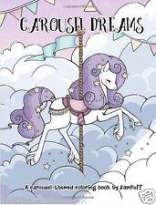 Carousel Dreams Adult Colouring Book Unicorns Cute Girls Kawaii Horses Anime
