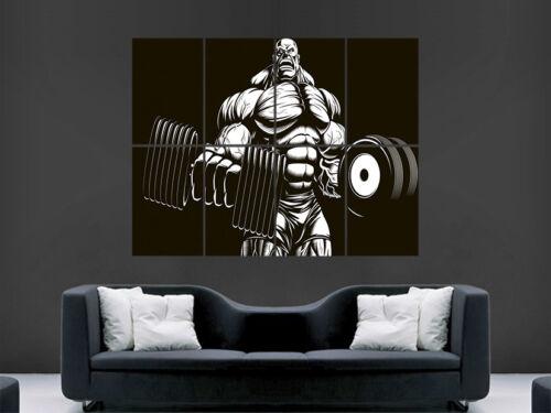 POSTER in stile fumetto Body Builder Palestra Addominali Muscoli manubri Stampa Immagine Muro Gigante