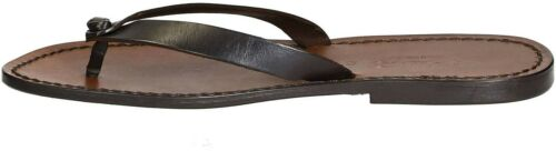 Handmade dark brown leather thongs flip-flops sandals for men Made in Italy