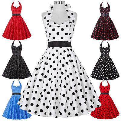 Womens Summer COCKTAIL Polka Dots Vintage Dress Mini Prom Ball Gown Size XS-3XL