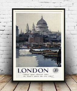London-St-Pauls-Vintage-Old-Travel-Poster-reproduction-Various-sizes