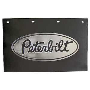 Semi Truck Mud Flaps >> Details About Peterbilt Motors Trucks 24 X 15 Black Silver Poly Semi Truck Mud Flaps Pair
