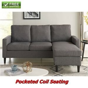 Terrific Details About Reversible Sectional Sofa Grey Fabric Chaise Couch Loveseat Furniture New Pdpeps Interior Chair Design Pdpepsorg