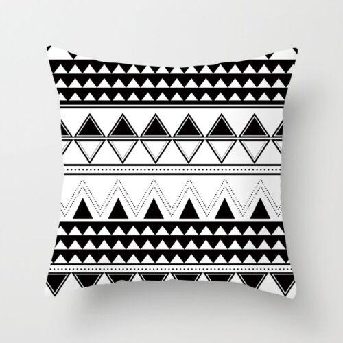 Black White Geometric Pillow Case Sofa Car Waist Throw Cushion Cover Home Decor