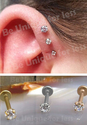 78a6a2cda7248 Crystal Prong Claw Set TRIPLE Forward Helix Cartilage Labret Stud Tragus  Bar | eBay
