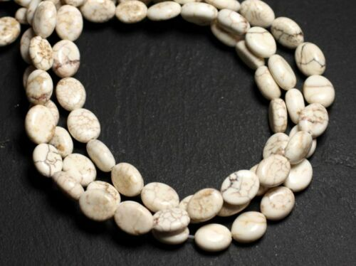 Fil 39cm 44pc env Perles de Pierre Turquoise Synthèse Ovales 9x7mm Blanc crème