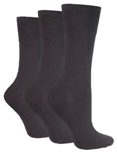3-Pairs-Ladies-Plain-Dark-Brown-Gentle-Grip-Cotton-Everyday-Socks-Size-4-8