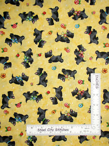 Mary-Engelbreit-Scottie-Dogs-Yellow-Cotton-Fabric-QT-Mary-039-s-Journey-By-The-Yard