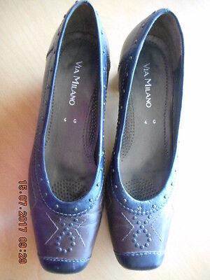 Schwarz-braune Damen Schuhe von Via Milano, Ballerinas, Echtleder Gr. 4 G