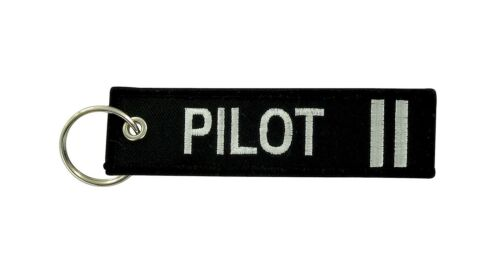 Portachiavi keychain PILOT remove befor flight ricamati 2 straight PILOTA bianco