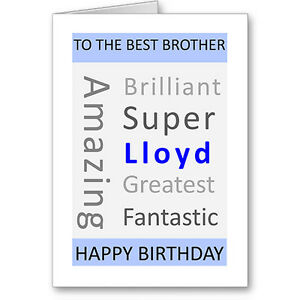 Image Is Loading Unique Typographic Personalised Brother Birthday Card Gift Next