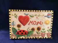 mom Ceramic Key Hanger With Garden Art In Box 7 1/2 X 5