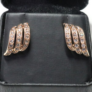 Sparkling-Cubic-Zirconia-Earring-Stud-Women-Jewelry-14K-Gold-Plated-Free-Ship