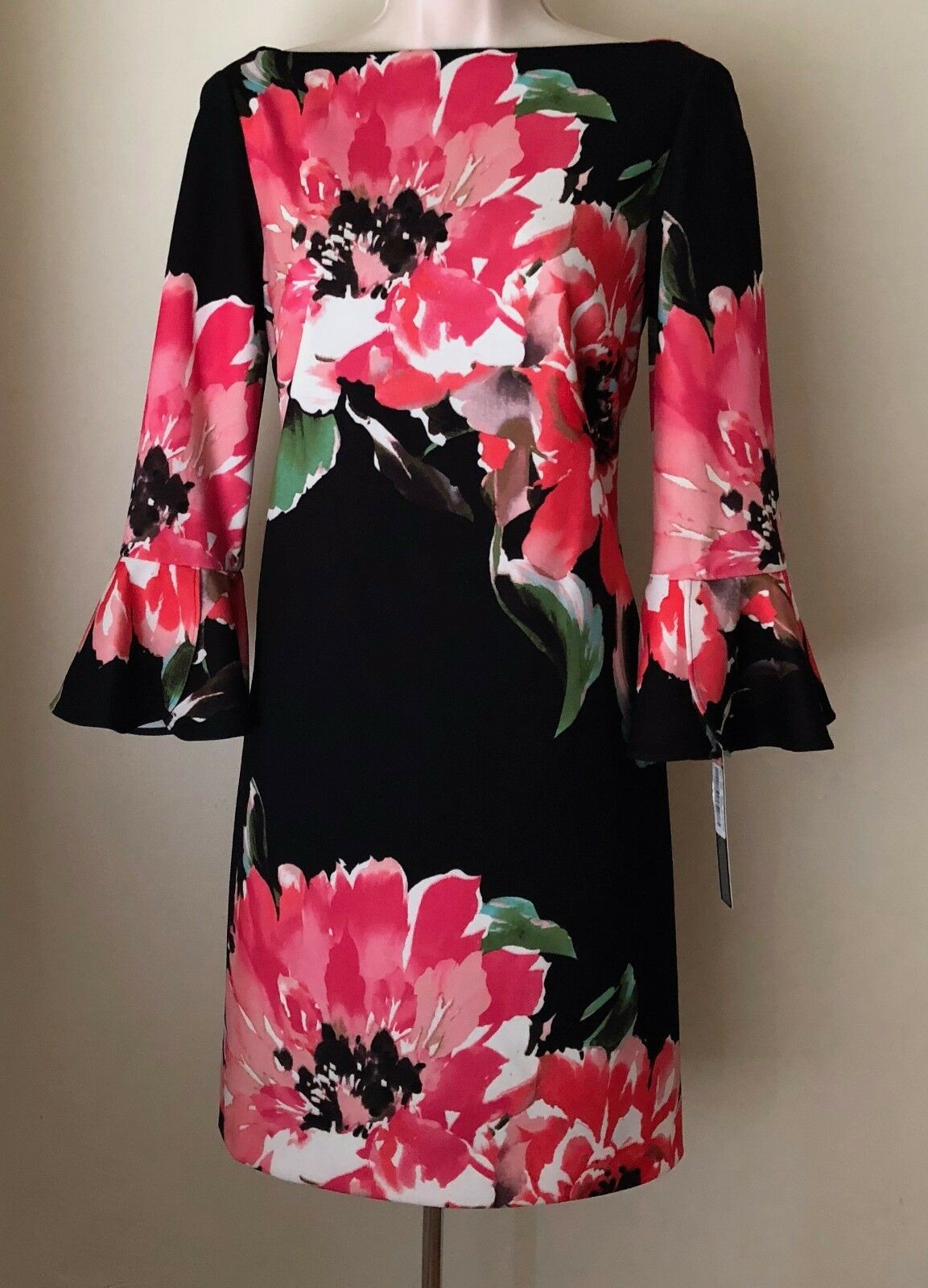 Tahari by ASL Bell-Sleeve Floral Scuba Crepe Shift Dress 8120M035 NWT Size 4, 8