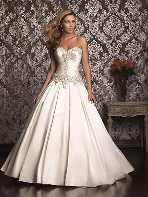 White/ivory satin wedding Dress Bridal Gown Custom Size: 6 8 10 12 14 16 18 20++