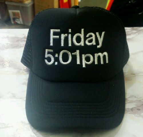 New Quality Friday 5:01pm Happy Hour Embroidery Black Mesh Trucker Cap Hat Party