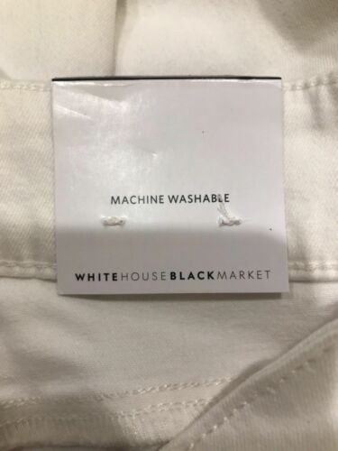 8 White Embroidered #60828 NWT WHITE HOUSE BLACK MARKET Skinny Crop Jeans Sz 6
