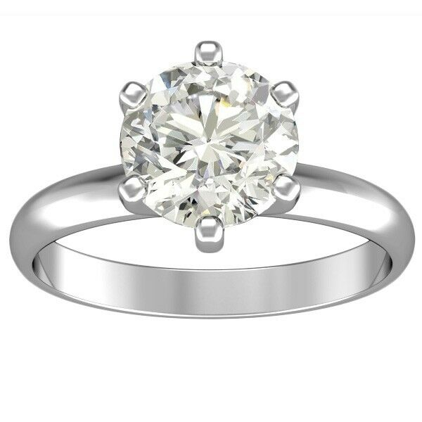 1.10 ct ROUND CUT solitaire diamond engagement Ring 14k WHITE gold D COLOR SI2