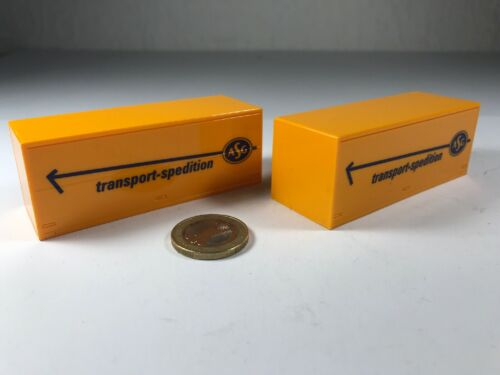 Ho 2 unid 20 ft maleta como contenedor ASG Orange presión azul 1:87 camiones Suecia