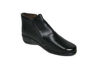 LADIES-BLACK-WEDGE-HEEL-SIDE-ZIP-CASUAL-CHELSEA-WOMENS-ANKLE-BOOTS