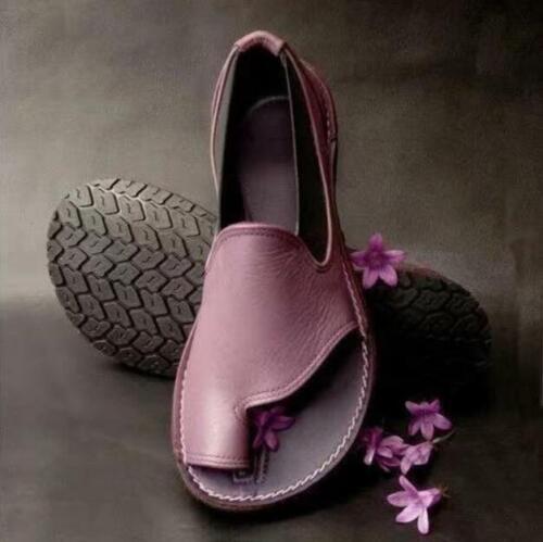 Zehenring Sandalen Flach Loafer Slipper Damenschuhe Rund Einfarbig PU Gr.34-43