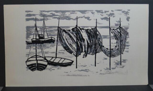 *1919 Polen 86//87//142 Eva van BLERICQ - Fischerboote und Netze auf grün