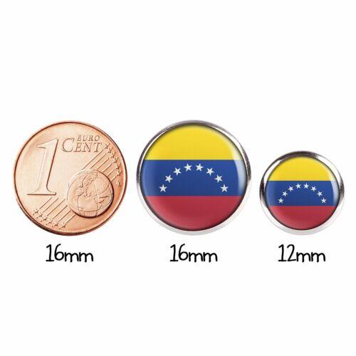 Mylery Par de Pendientes con Motivo Venezuela Caracas Bandera Plata Varios Gr