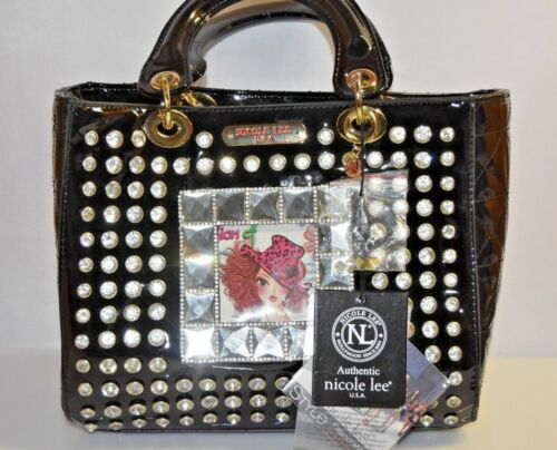 Nicole Lee USA Black Rhinestones Small Long Strap Handbag