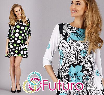 Stylish Women's Mini Dress Boat Neck 3/4 Sleeve Tunic Sizes 8 - 10 Fa295