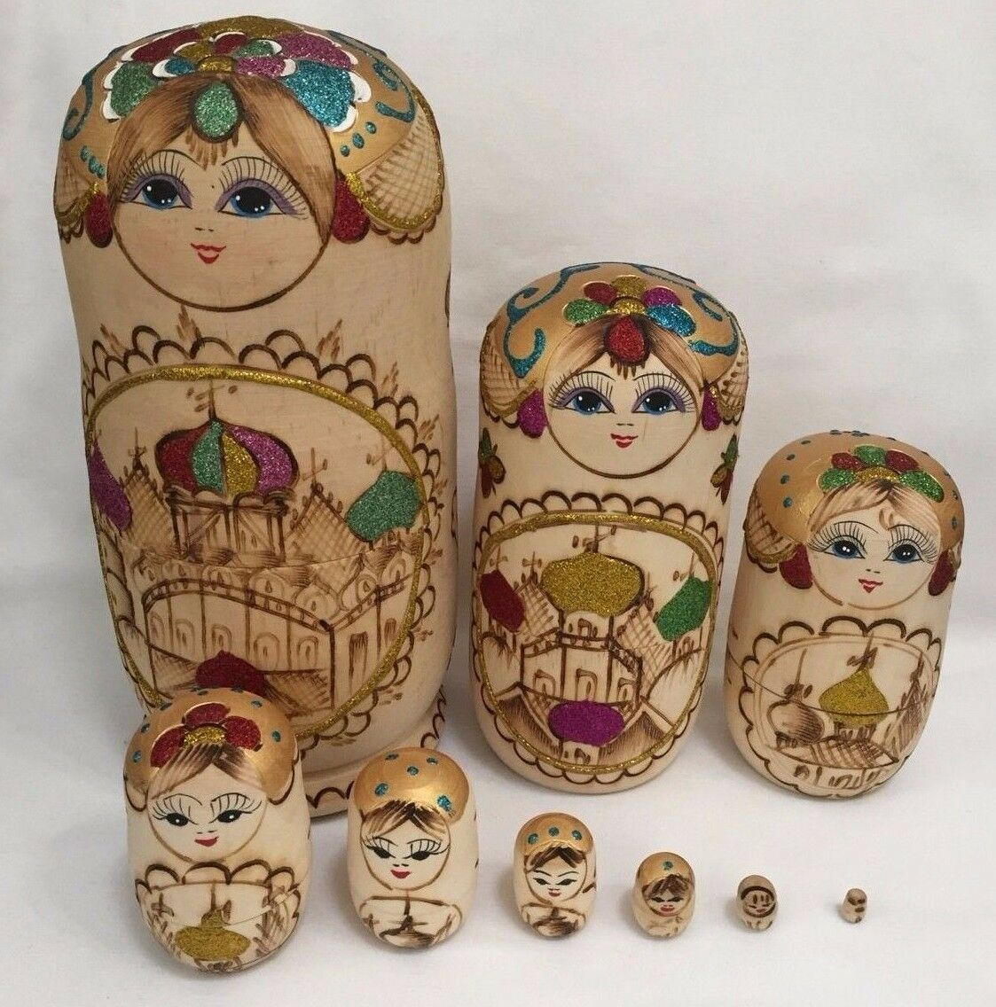 Russian Matryoshka Nesting Dolls, HUGE 10.5 , Pyrography, Set of 9 Dolls (RF276)