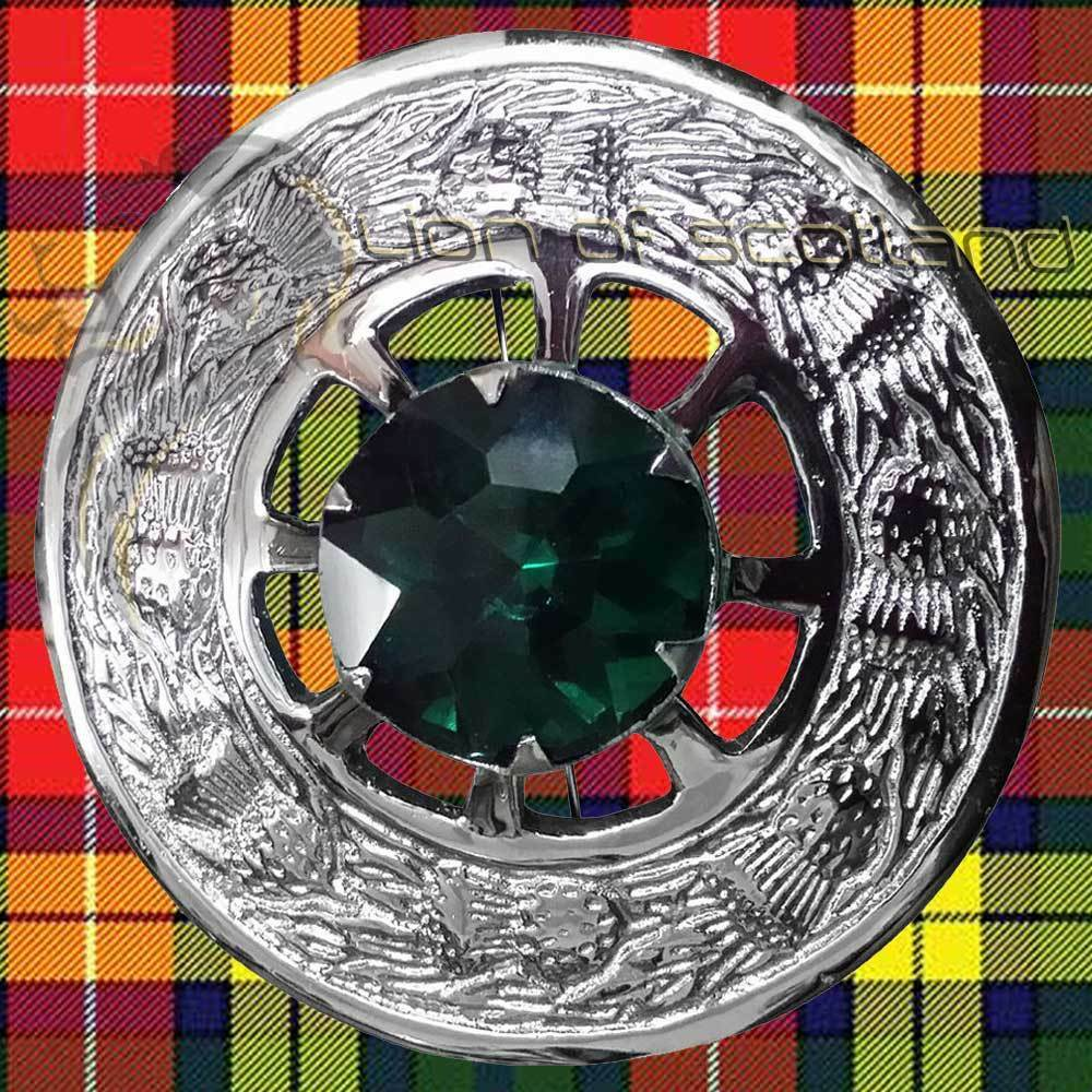 LS Celtic Fly Plaid Brooch Green Stone Chrome 3