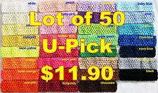 "Lot 50 Crochet Headbands Baby Girls 1.5"" U Pick Colors!"