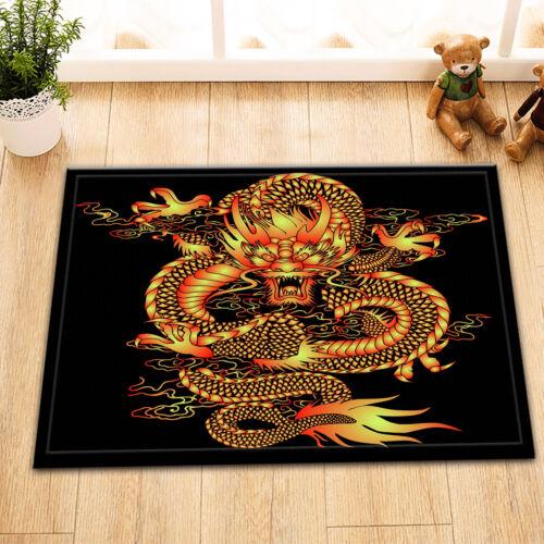 Chinese Ancient Dragon Shower Curtain Liner Bathroom Waterproof 12 Hooks /& Mat
