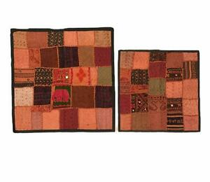 Indian-Tapestry-Cushion-Cover-Heavy-Wall-Hanging-Patchwork-Table-Run-Square