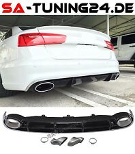 Für Audi A6 C7 4G Schwarz RS6 Look Diffusor S-Line Wabengrill Stoßsange Grill .1