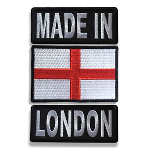 """Embroidered 3/"""" Made in England With England Flag Iron on Patch Biker Patch Set"""