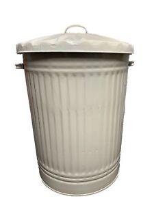 Cream 90l Large Metal Bin Trash Can
