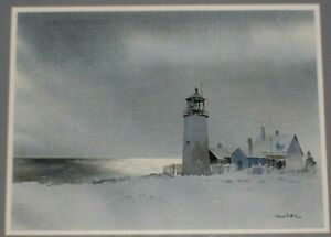 HOWARD-N-WATSON-SIGNED-ORIGINAL-WATERCOLOR-PAINTING-OF-LIGHTHOUSE