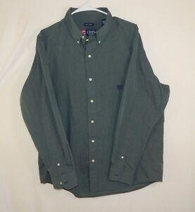 Ralph-Lauren-Chaps-Mens-Button-Down-Dress-Shirt-Easy-Care-Green-Size-LARGE-L