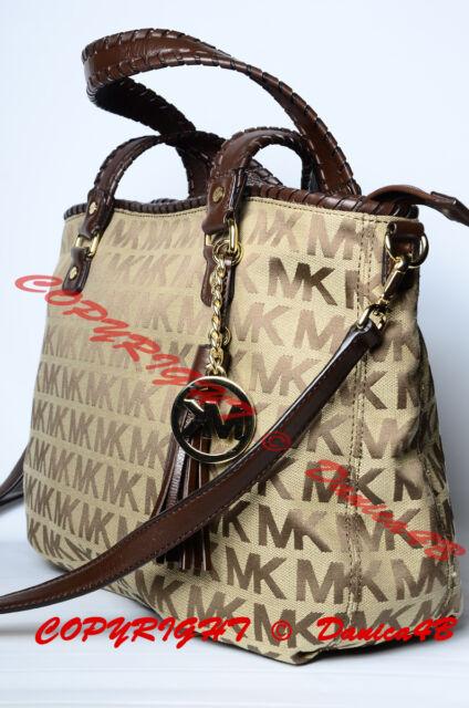 c08172ab73a41d $348 Michael Kors Large Bennet MK Signature Jacquard Tote Shoulder Bag