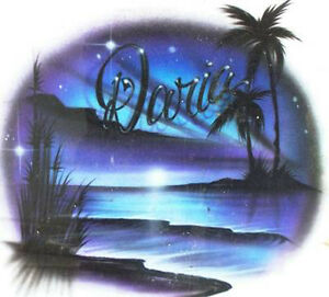 3c293bca Image is loading Personalized-Airbrush-Beach-Scene-T-shirt-w-YOUR-