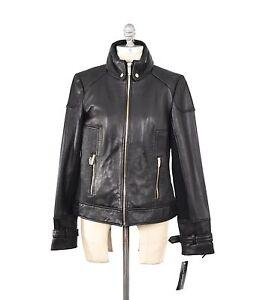 Jacket Nwt Genuine Ribbed Moto Boxy Gold Knit Leather m S Spiga Via Hardware CqwgCvB