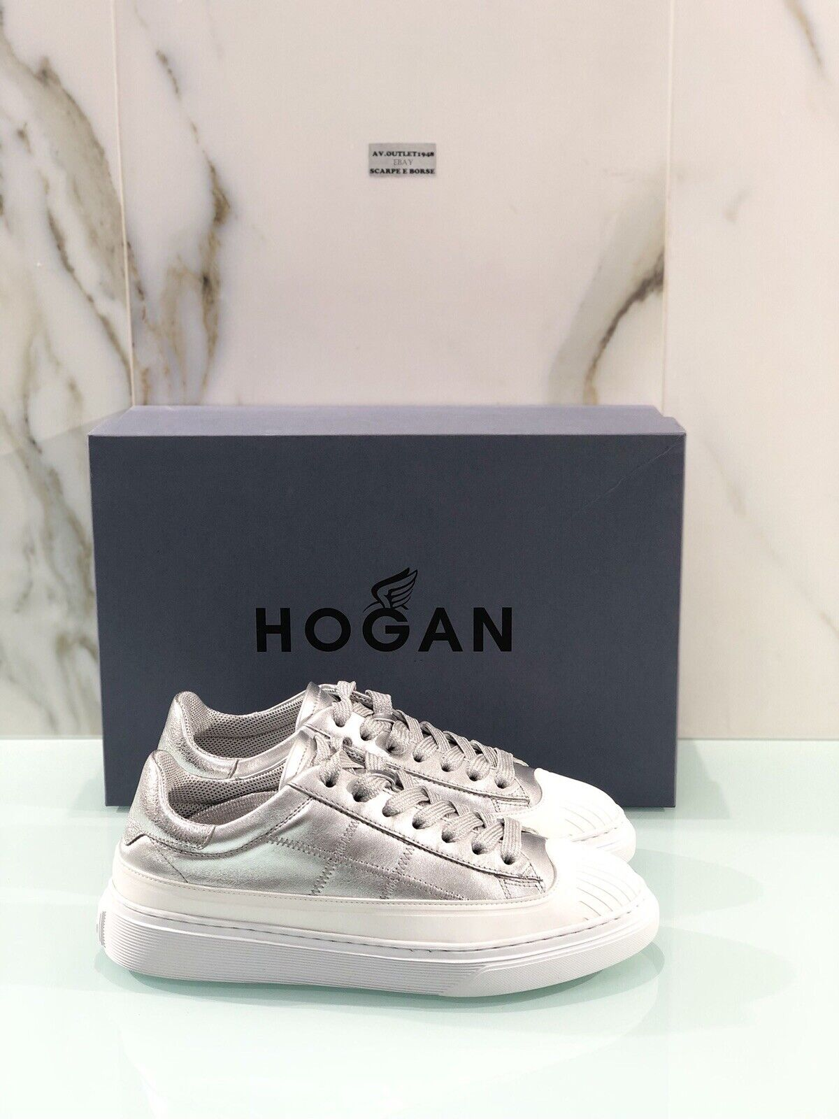 Hogan H365 Niedrig Cut Dröhn aus Leder Silber Casual Sportschuhe Hogan Frau